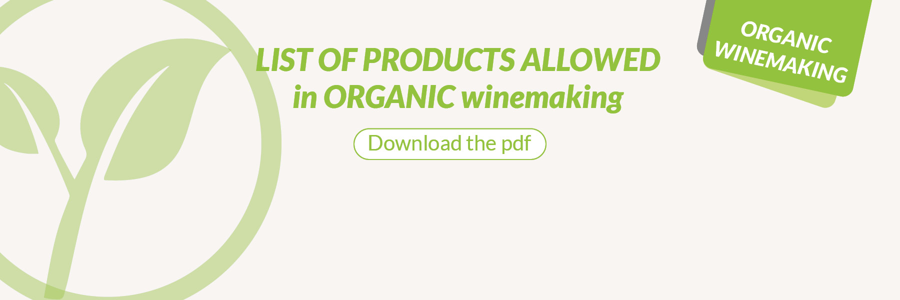 List of products allowed in organic winemaking